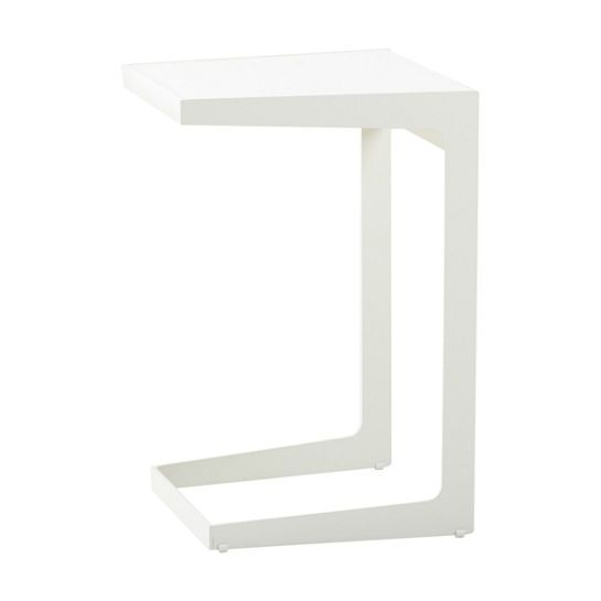 White Time Out Side Table $330.00 Another indoor and outdoor essential from Cane-line. The Time-Out Side Table is the smaller, flexible cousin to the Chill-Out Table and features the same sleek Scandinavian-inspired design. Crafted of lightweight, powder-coated aluminum, this nimble table slides over any chair or lounge seat so it's ideal for serving food or drinks or keeping your favorite book or gadget nearby.