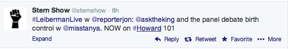 So fun to be tweeted by the Howard Stern show!