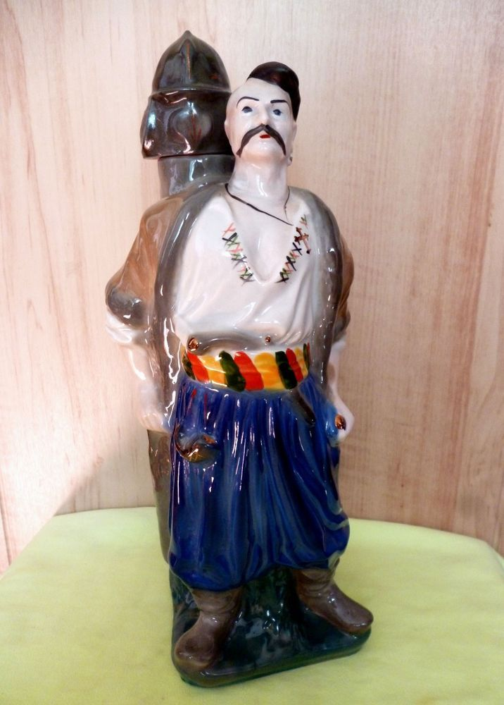 """Empty Bottle Shtof Decanter of """"Cossack with a battering ram"""" from under vodka"""