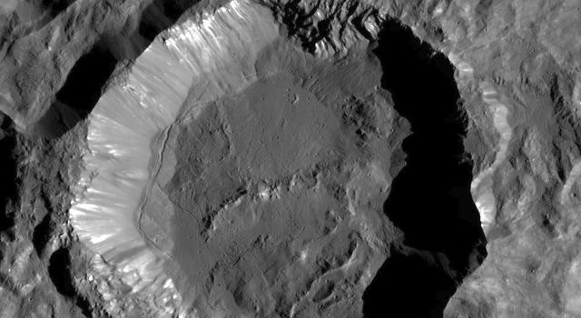 This image from NASA's Dawn spacecraft shows Kupalo Crater, one of the youngest craters on Ceres. Image Credit: NASA/JPL-Caltech/UCLA/MPS/DLR/IDA