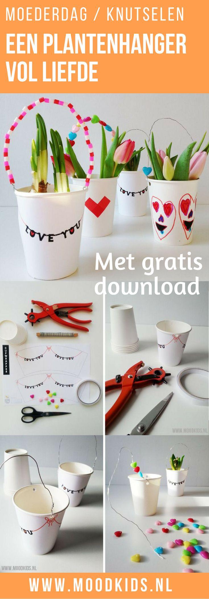 Knutselen met kinderen voor Moederdag of Valentijnsdag. Een leuke plantenhanger vol liefde. Met gratis download