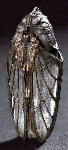 Art-Nouveau. RARE-ANTIQUE-FRENCH-ART-NOUVEAU-GLASS-PERFUME-SCENT-BOTTL. Artiest onbekend. Organische vormen, insect/bloemen. gedetailleerd, handwerk/ambacht.
