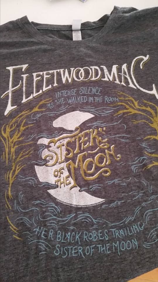 an awesome Stevie-inspired t-shirt, using Stevie's words: Intense silence, As she walked in the room, Her black robes trailing, Sister of the moon ~ ~ https://youtu.be/nbD4fj39pEk ~ http://www.azlyrics.com/lyrics/fleetwoodmac/sistersofthemoon.htmlhttps://en.wikipedia.org/wiki/Sisters_of_the_Moon