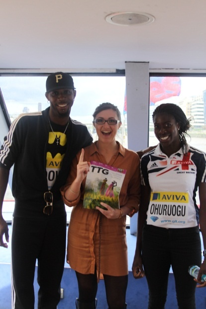 TTG's Carlie Trotter hung out with Team GB stars - triple jumper Phillips Idowu and Olympic silver medallist Christine Ohuruogu.