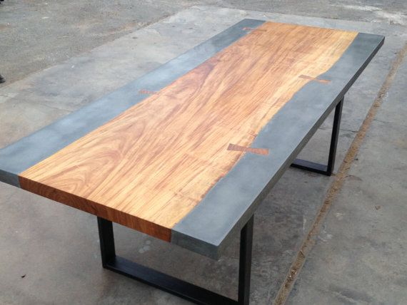 Modern industrial wood and concrete dining table found on etsy.com  Industrial Design ...