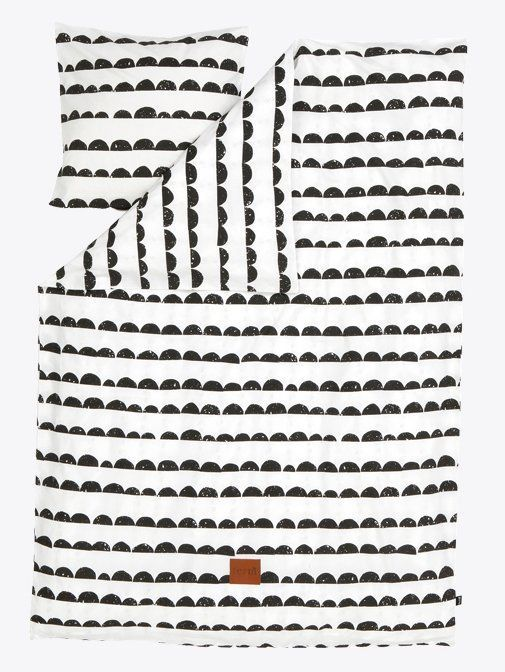 Ferm Living Bettbezug 'Half Moon' schwarz / weiß gestreifter Baumwolle 140x200 cm-Adult