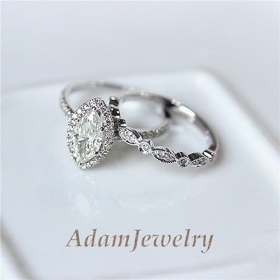 14k white gold 5x10mm marquise moissanite engagement ring set wedding ring set - Engagement Ring And Wedding Ring