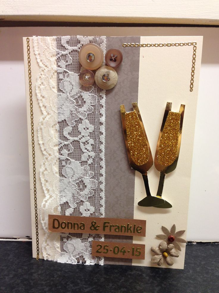 A Beautiful handmade wedding card, Brown/Beige, Lace & Buttons. Personalised for a keepsake.