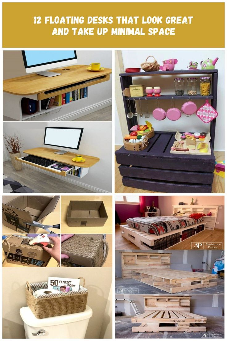 12 floating desks that look great and take up minimal space – Floating desk with…