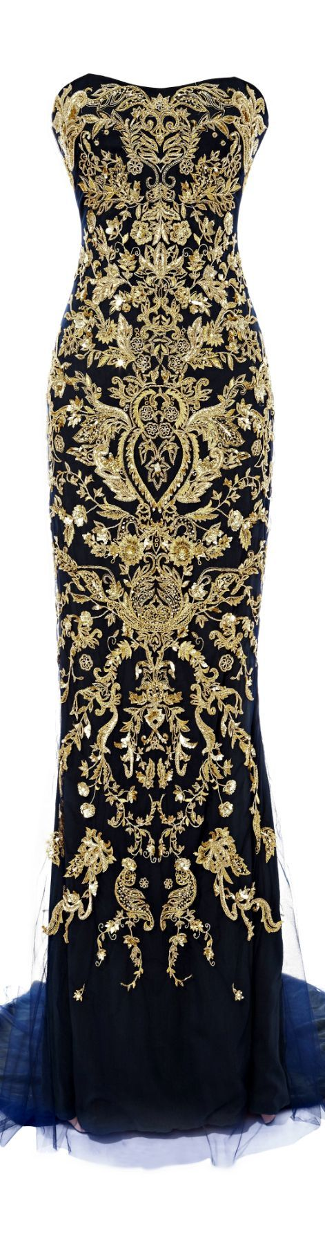 Marchesa ● SS 2014 ● Fishtail Gown With Ornament Embroidery- gorgeus