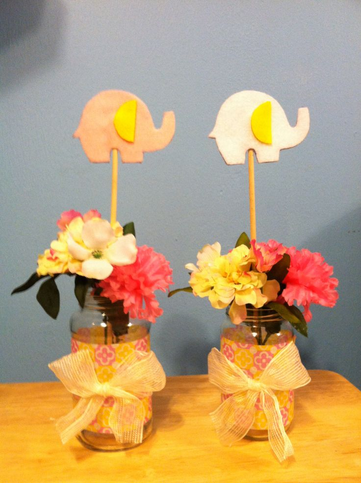 Elephant baby shower centerpieces used old jars of