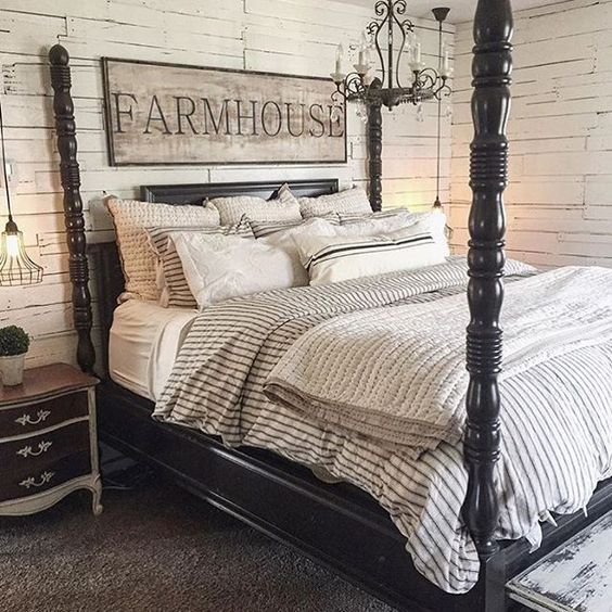 Loving this bedroom! I like the way that they worked in that bedside piece by painting it black & white.