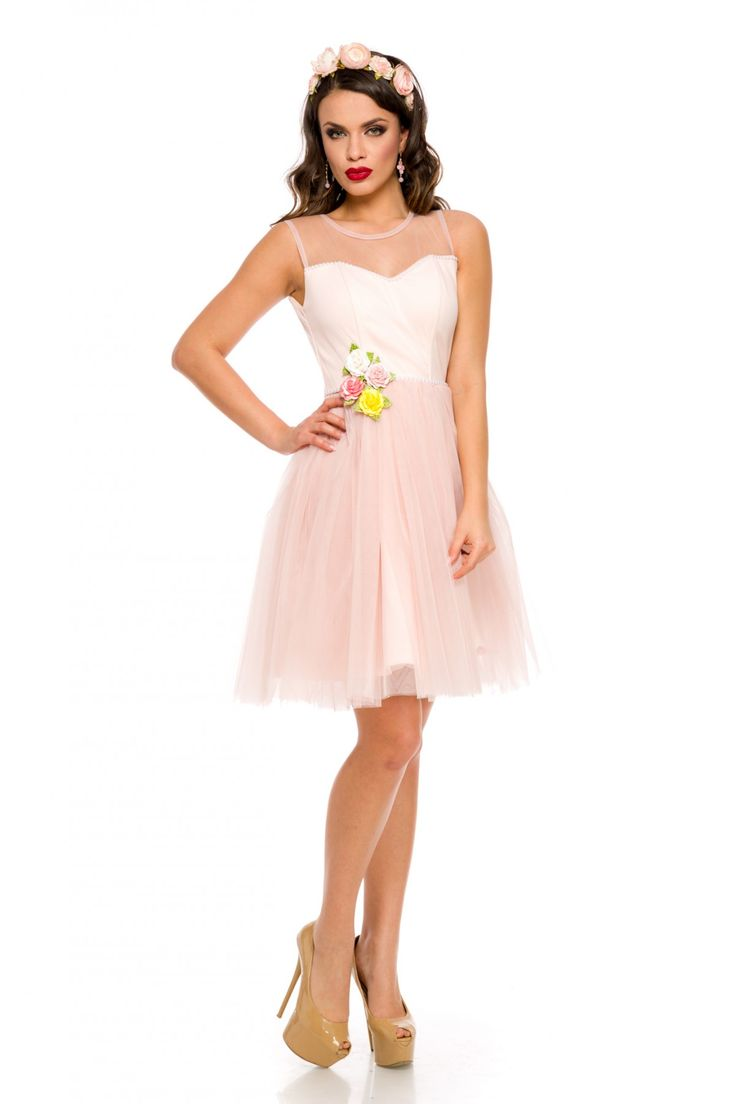 Rochie Selena Roz 249 lei Rochie tip baby-doll din tull roz