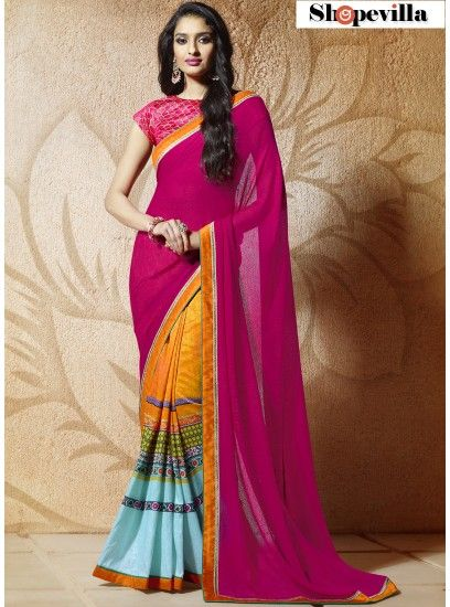 Pink Colour Abstract Print Bangalore Silk Classic Saree-608