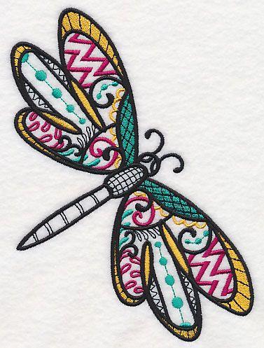 Dragonfly Dream (Blackwork) design (M4098) from www.Emblibrary.com