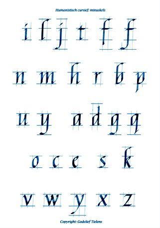Alfabet Humanistisch cursief minuskels © Godelief Tielens