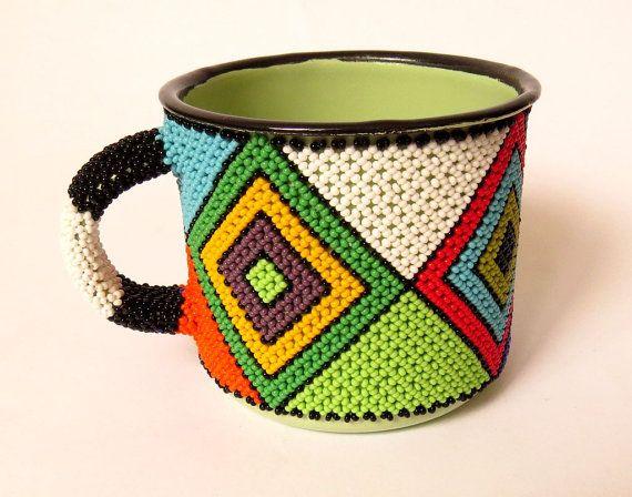 Zulu africains perles tasse  diamant par GoneRuralSafariCurio
