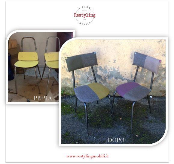 Restyling di 2 sedioline da scuola con nuova seduta e schienale imbottiti by Restyling Mobili - www.restylingmobili.it