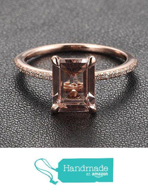 Emerald Cut Morganite Engagement Ring Pave Diamond Wedding 14k Rose Gold 6x8mm from the Lord of Gem Rings https://www.amazon.com/dp/B01GXFMV20/ref=hnd_sw_r_pi_dp_NXUxxbGRK2H2Z #handmadeatamazon