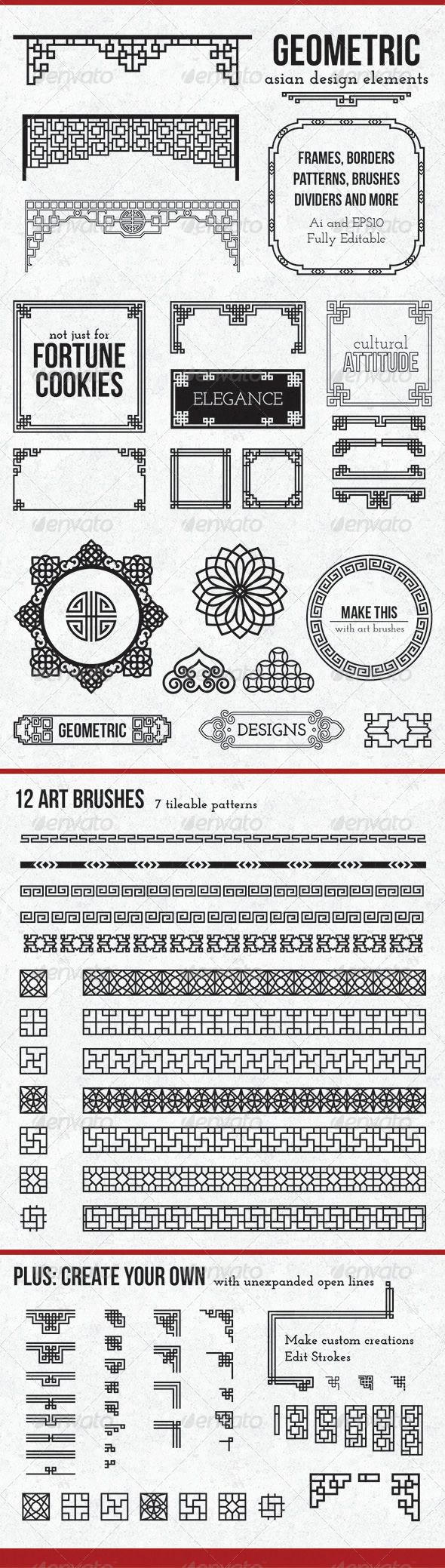 Geometric Asian Design Elements  #GraphicRiver         These vectors are traditional Asian patterns, updated with a modern twist. This complete package includes premade frames and borders, as well as customizable elements, 12 pattern brushes
