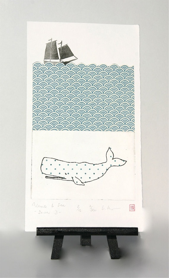"""Under the sea ... """"Whale & Sea"""" -  Original Etching and Collage by freshandsilly on Etsy"""