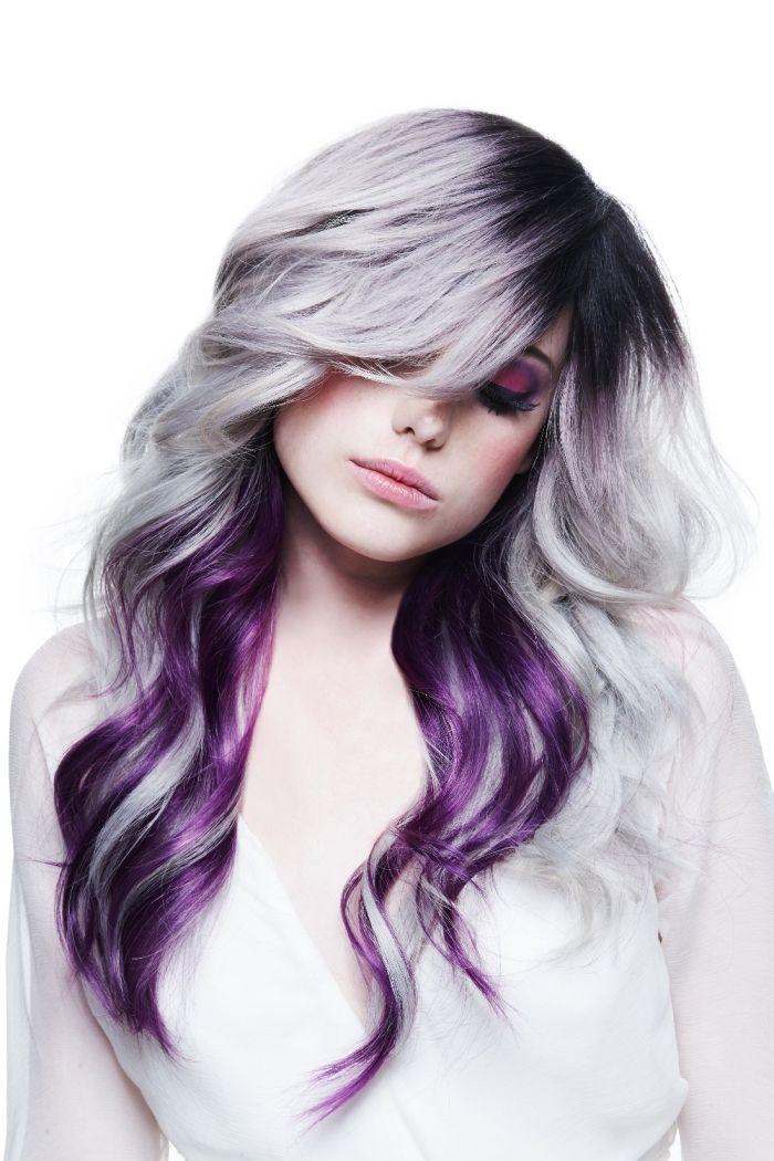 id e coiffure gris pastel coloration racines fonc s m ches violets cheveux violet longs ro. Black Bedroom Furniture Sets. Home Design Ideas