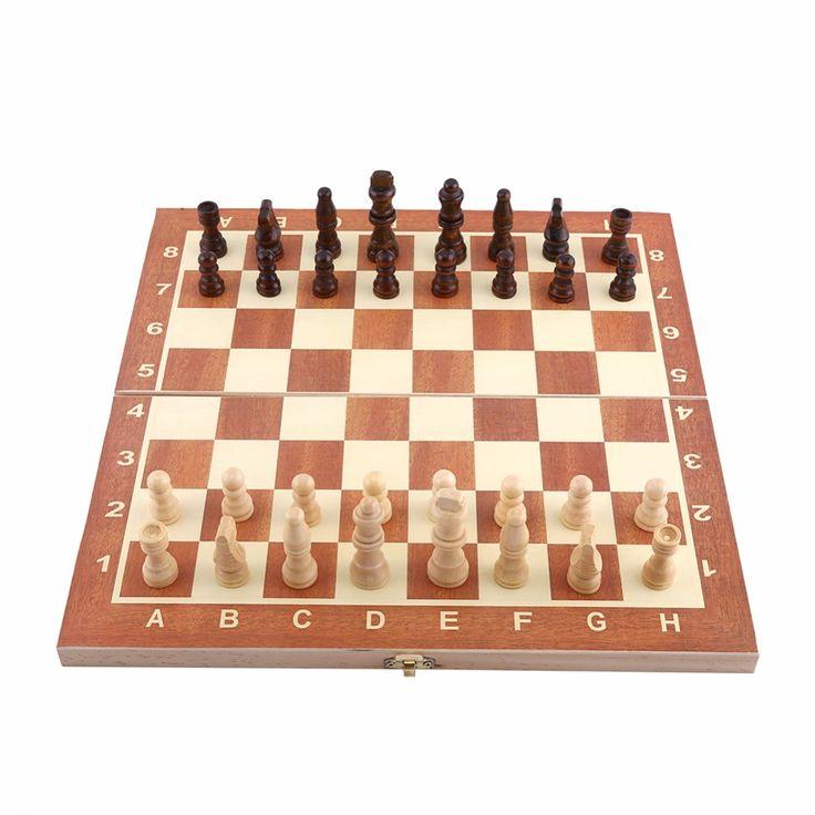 1 Satz Tragbare Holz-schachspiel Backgammon Brettspiele Schachbrett Internationale Schach Für Party Familie Freund Unterhaltung