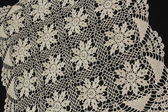Straw square doily crochet in Floral by NatureAnesthesia on Etsy