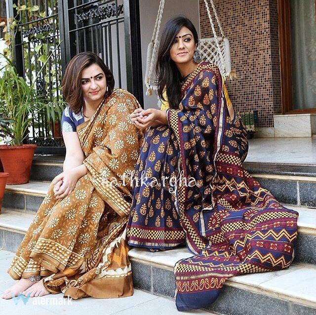 Chanderi handblock print saris
