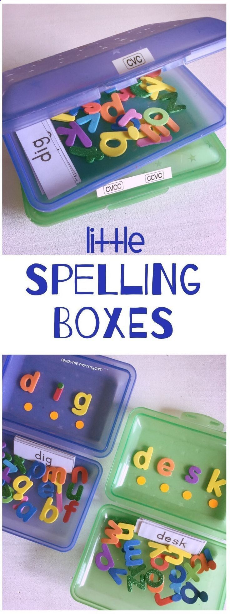 These DIY spelling boxes are perfect for kids working on sight words at home or in the classroom.http://www.teach-me-mommy.com/2017/03/little-spelling-box.html
