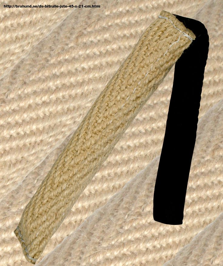 DS Bitrulle jute 4,5 x 21 cm - Kamprullar och bitstockar från och vår egen tillverkning.  Kamprulle för träning av jakt- och kamplust.  Tillverkad av nylcot, försedd med handtag.