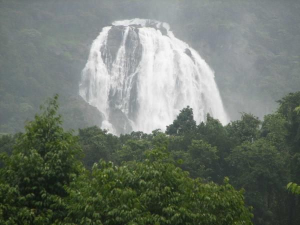 The majestic view of Dudhsagar Waterfalls, India