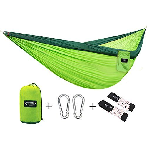 G4Free Double Camping Hammock – Portable High Strength Hammock – Lightweight Blend Color Nylon Fabric Parachute for Outdoor. Hammock Straps & Steel Carabiners include(Dark Green/Bright Green)  http://stylexotic.com/g4free-double-camping-hammock-portable-high-strength-hammock-lightweight-blend-color-nylon-fabric-parachute-for-outdoor-hammock-straps-steel-carabiners-includedark-greenbright-green/