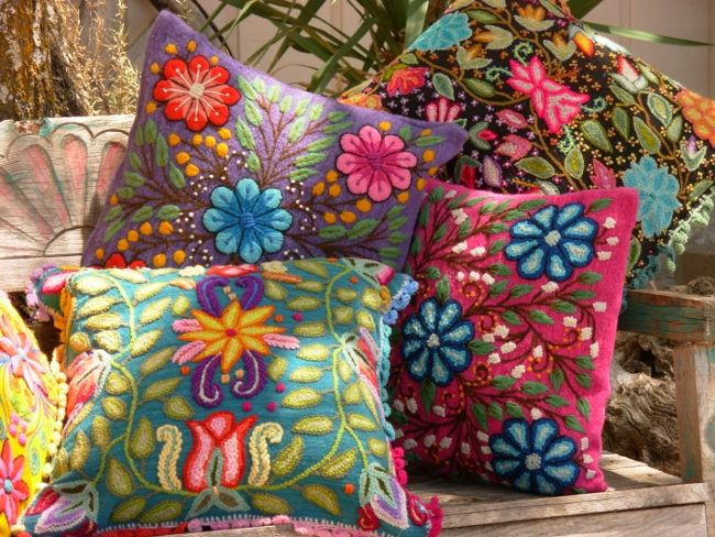 Poppin' PINK  Floral Embroidered Pillow Chico