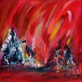 Tableau Abstrait Moderne Rouge Intitulé La Grandeur De La Montagne