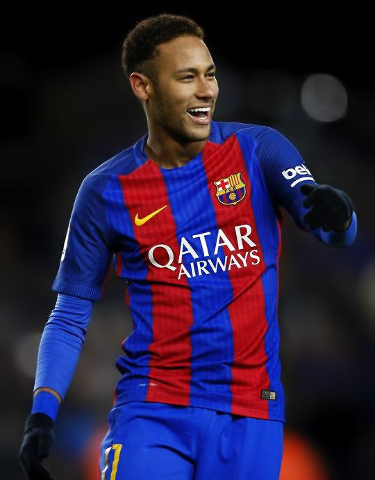 Happy Neymar after scoring his team's second goal from the penalty spot during the Copa del Rey round of 16 second leg match between FC Barcelona and Athletic Club at Camp Nou on January 11, 2017 in Barcelona.
