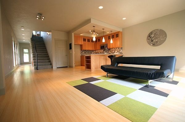 Elegant living room tiles carpet with green, white and brown