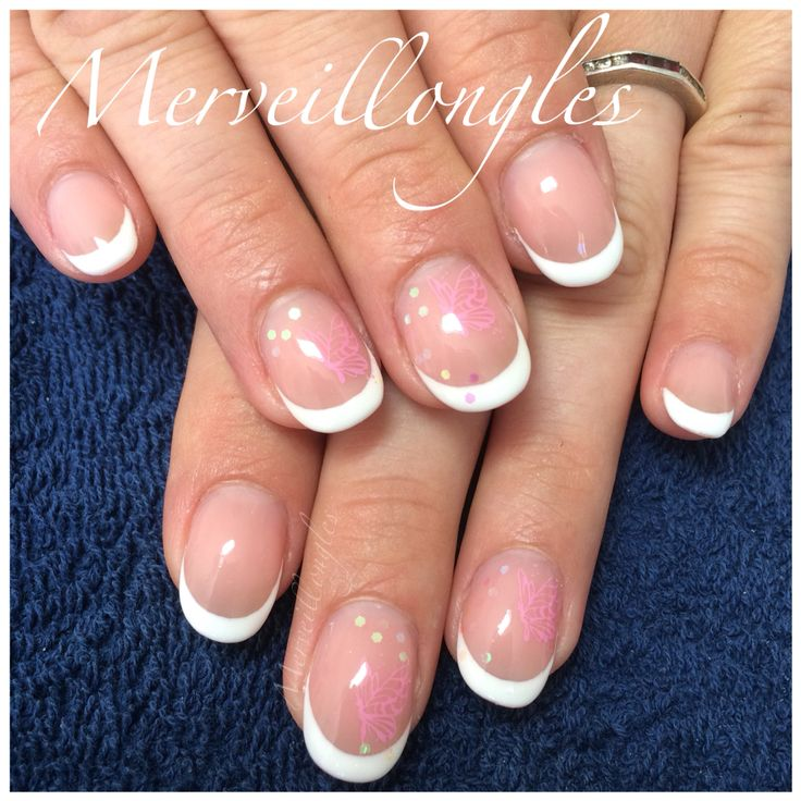 Gel uv faux ongles french tampon konad paillettes