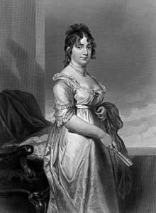 Dolley Madison. born May 20, 1768, was the wife of 4th United States President James Madison.  She was a great asset to Madison's career.  During the burning of the White House in 1814, she saved many state papers and a portrait of George Washington from the advancing British.