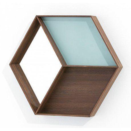 Ferm Living Spiegel met opbergvak Wall Wonder Mirror hout bruin/licht blauw 60x50cm