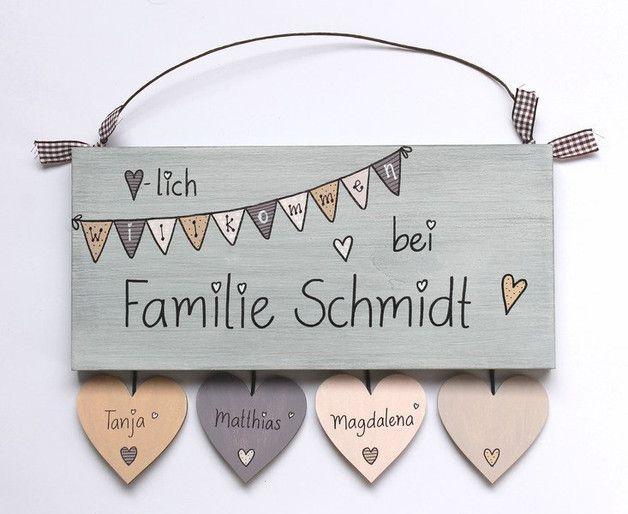**♥NEUEs DESIGN ♥** **Shabby Türschild Holz (…