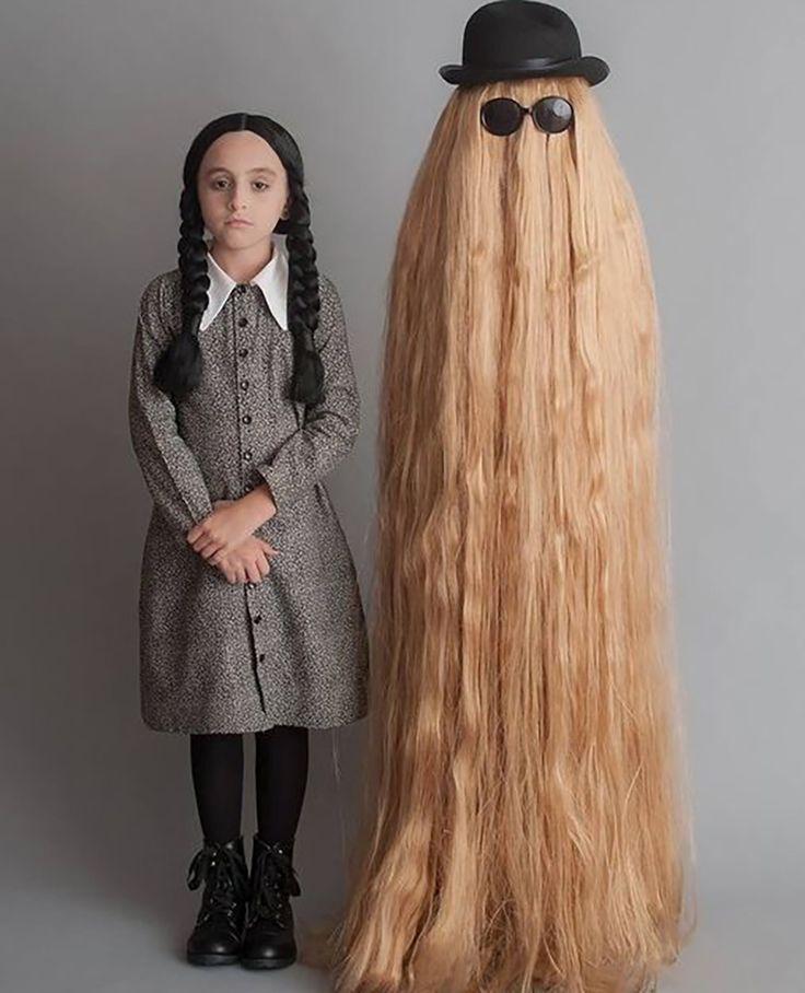 original halloween costumes wednesday addams and cousin it costume - The First Halloween Costumes