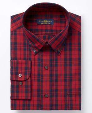 Club Room Men's Classic/Regular Fit Country Tartan Dress Shirt, Created for …