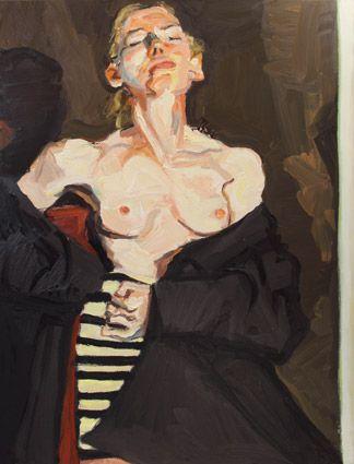 © Robert Malherbe ~ The Striped Skirt ~ 2011 oil on linen at Olsen Irwin Gallery Sydney Australia