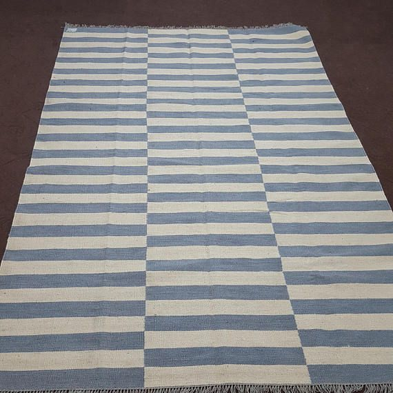 Made To Order Grey And White Off White Striped Kilim Dhurrie Etsy Striped Kilim Grey And White Rug Flat Weave Rug