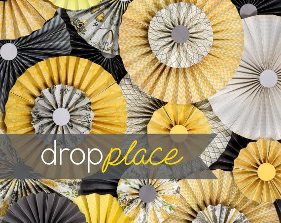 6x8 Durable Matte Vinyl Backdrop Yellow and Gray Pinwheel Photo Photography Background / Party Backdrops / Photobooth