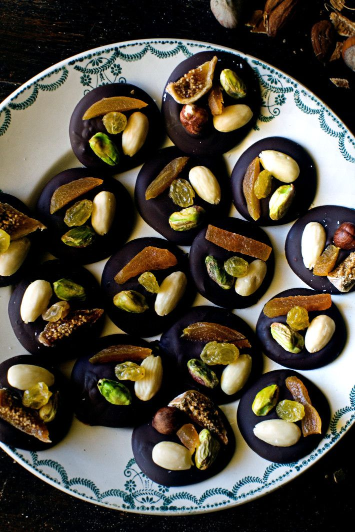"""""""MENDIANTS"""" ~ Chocolate topped with candied fruit and nuts, known as """"beggars"""" one of the traditional Treize Déserts de Noël, the 13 Christmas Desserts served in Provence, symbolizing Christ and the 12 Apostles."""