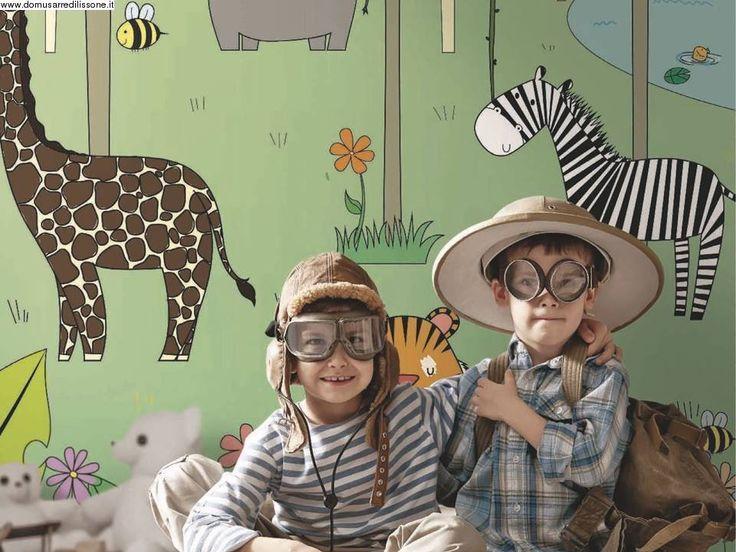 carta da parati per cameretta con animali della giungla