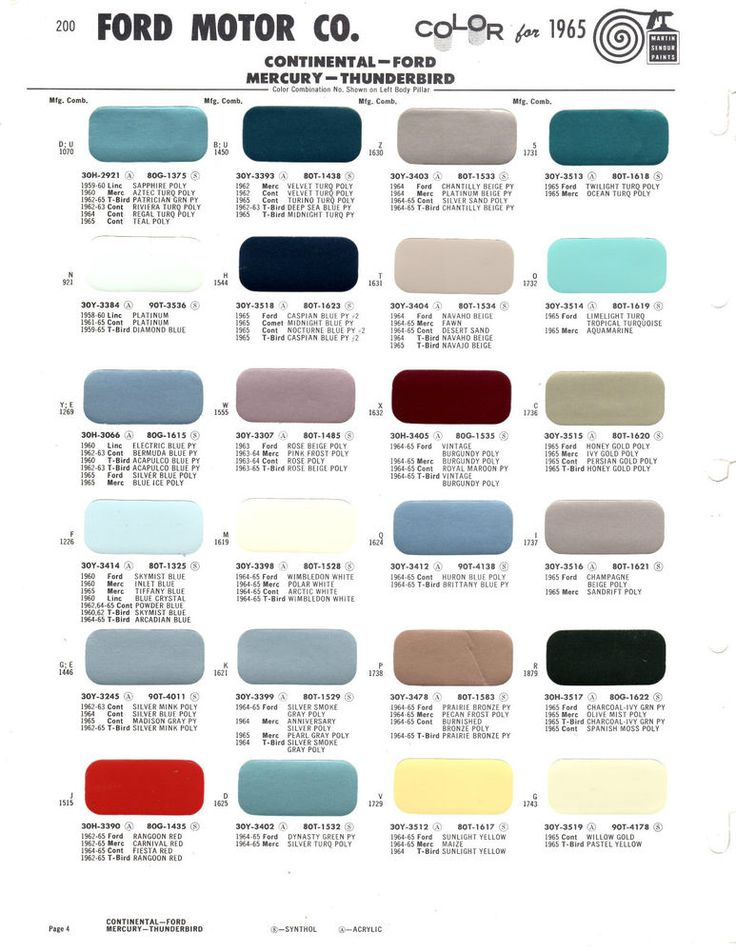 25 Best Paint Charts Images On Pinterest Car 1960s And Cars