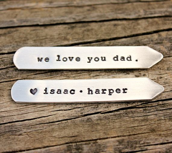 Custom Collar Stays for dad from the kids on Etsy. Great price too.